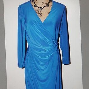 Anne Klein Wrap Dress  Bluebell Sz. 10 Long Sleeve